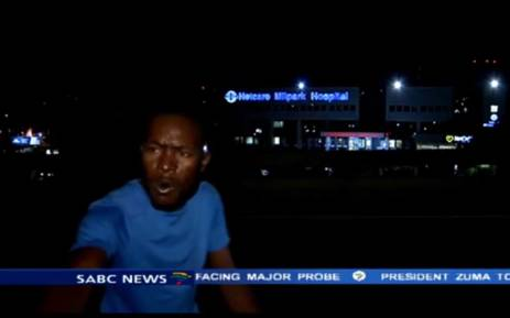 A screengrab shows one of the men who mugged the SABC News crew who were preparing to go live on air outside Milpark Hospital on 10 March 2015.
