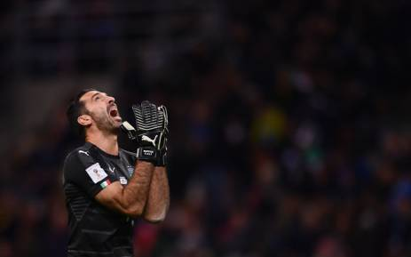 Italy's goalkeeper and captain Gianluigi Buffon reacts after a 0-0 draw to Sweden during the Fifa World Cup 2018 qualification match on 13 November 2017 in Milan ended the four-time world champions' hopes of reaching next year's finals in Russia. Picture: AFP.