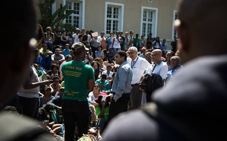 FILE: UCT #FeesMustFall protestors speak with staff outside of Bremner building on middle campus. Picture: Anthony Molyneaux/EWN