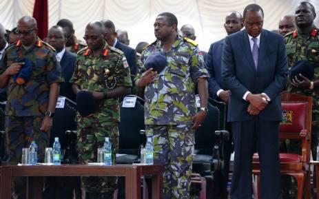 FILE: Kenya's President Uhuru Kenyatta (2nd R) attends prayers on 22 January 2016. Picture: AFP/John Muchucha.