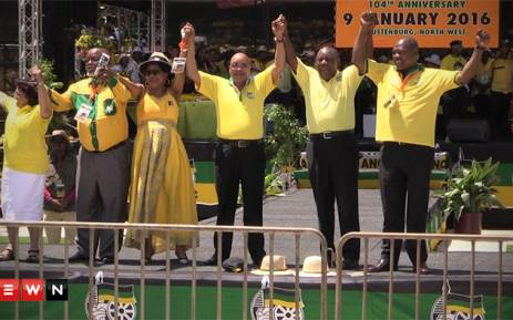 ANC leadership at the January 8 statement celebrations in Rustenburg. Picture : Kgothatso Mogale