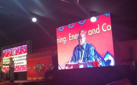 NUM General Secretary David Sipunzi addressing union members during the union's national congress at Boksburg. Picture: Qaanitah Hunter/EWN.