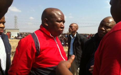 Expelled ANCYL president Julius Malema arrives at Lonmin's Marikana mine in the North West on 18 August 2012. He plans to mediate with striking workers and management. Picture: Taurai Maduna/EWN.