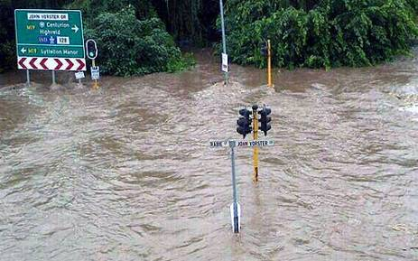 The intersection of Rabie and John Vorster Drive was flooded on 5 March 2014. Picture: via Twitter @sinful_allure