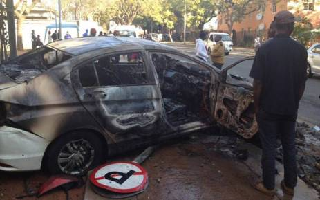 FILE: An Uber operator's vehicle following an attack in Pretoria on 21 June. Picture: Facebook.com