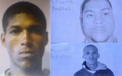 A composite picture of three of the four prisoners who escape custody on 27 December, 2017. Picture: @SAPoliceService/Twitter