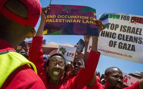 Economic Freedom Fighters (EFF) supporters rally outside the Israel Embassy in Pretoria for a free Palestine protest. Picture: Thomas Holder/EWN.