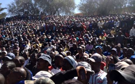 About 3,000 men gather outside the Goldfields' KDC gold mine in Westonaria to hear Former African National Congress Youth League (ANCYL) leader Julius Malema address them over labour disputes on 3 September, 2012. Picture: Govan Whittles/Eyewitness News