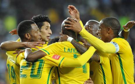 Mamelodi Sundowns players celebrate after beating Orlando Pirates 2-1 last night at the Orlando Stadium on 10 February 2016. Picture: @OfficialPSL.