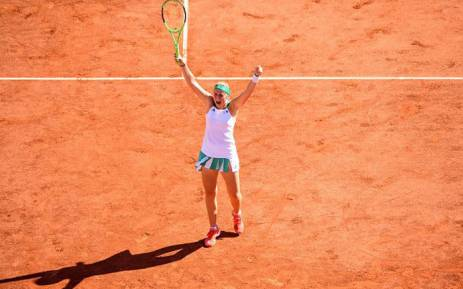 Jelena Ostapenko celebrates a win at the French Open. Picture: @WTA/Twitter