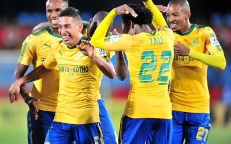 Mamelodi Sundowns celebrate after scoring against Rayon Sports. Picture: Twitter/@Masandawana.
