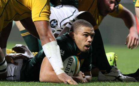Bryan Habana (C) scores a try for South Africa during the rugby union Championship Test in Perth on September 8, 2012. Picture: AFP.
