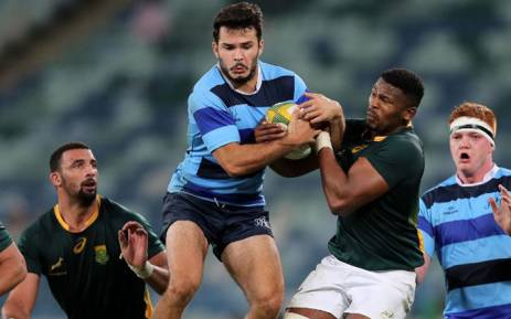 French Barbarians Arthur Bonneval (2nd-L) vies for the ball with South Africa's Warrick Gelant (2nd-R) during the rugby union test match between French Barbarians and South Africa on June 16, 2017, in Durban. Picture: AFP.