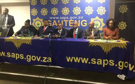 Police Minister Fikile Mbalula, State Security Minister David Mahlobo, Mayor Mzandile Masina and Safety MEC Sizakele Malobane brief the media on crime at the OR Tambo International Airpot on 10 July 2017. Picture: Gia Nicolaides/ EWN