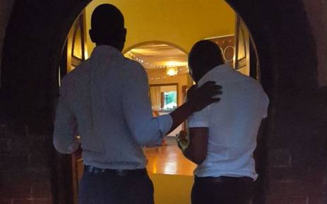 FILE: Eyewitness News journalists Clement Manyathela & Victor Magwedze present themselves as a gay couple at the entrance of The Lake Restaurant in Brakpan. Picture: Louise McAuliffe/EWN.