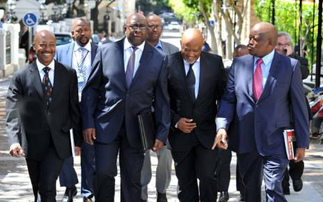 Former Finance Minister Nhlanhla Nene flanked by SARS Commissioner Tom Moyane, Deputy Minister of Finance Mncebisi Jonas, and DG Lungile Fuzile after his first Budget Speech in Cape Town on 25 February 2015. Picture: GCIS.