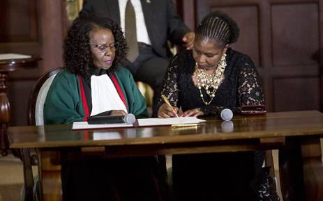 Newly appointed Minister of Communications Ayanda Dlodlo takes her oath during the swearing in ceremony of President Jacob Zuma's new cabinet on 31 March 2017. Picture: Reinart Toerien/EWN