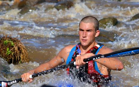 Paddler Andrew Birkett navigates a rapid on day one of The Unlimited Dusi Canoe Marathon 2013. Picture: Aletta Gardner/EWN