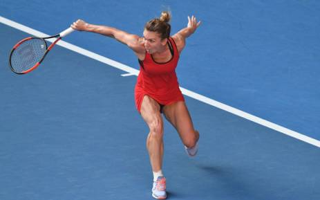 Simona Halep gets a return in. Picture: @AustralianOpen/Twitter