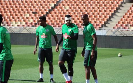 Bafana Bafana goalkeeper Itumeleng Khune in a mask. Picture: @BafanaBafana