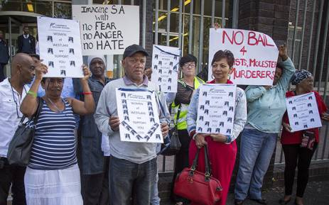 Westlake community members show their support for the Blöchliger family outside the Wynberg Magistrate's Court on 11 March 2016. Picture: Aletta Harrison/EWN