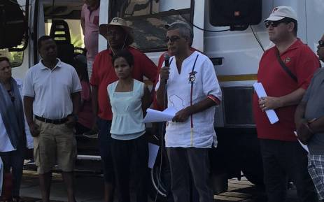 Cosatu's Tony Ehrenreich seen among protesters during a demonstration in Cape Town over the city's water crisis on Sunday, 21 January 2018. Picture: Graig-Lee Smith/EWN.