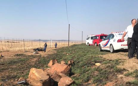 ER24 paramedics at the scene of the accident that claimed a motorcyclist's life near Parys. Picture; ER24.