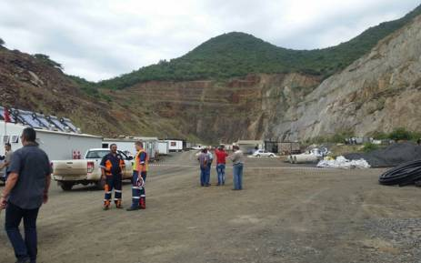 Outside the Lily Mine near Barberton in Mpumalanga where dozens of workers were trapped underground on 5 February 2015. Picture: Lowveld Media/Barberton Times.