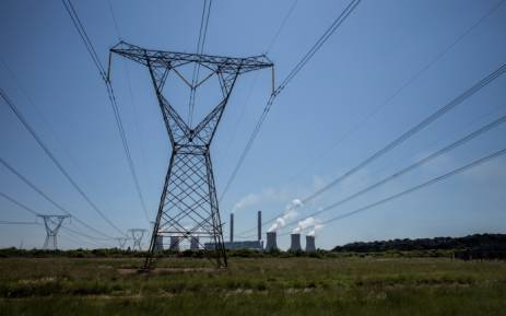 Power lines leaving Eskom's Duvha power station, 15km east of Witbank. Picture: AFP.