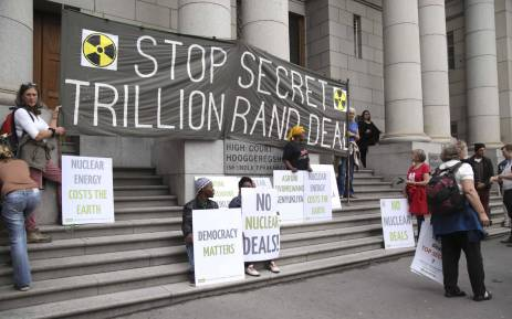 FILE: Protesters outside of the Western Cape High Court where it was ruled that government's decision to call for proposals for the procurement of 9.6 gigawatts of nuclear energy is unlawful and unconstitutional. Picture: Cindy Archillies/EWN