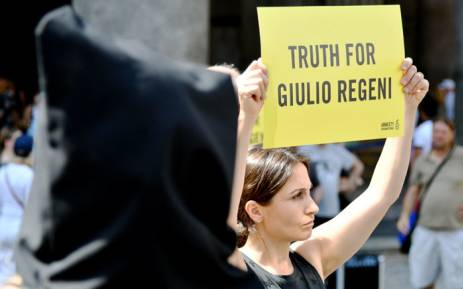 FILE: Amnesty International activists perform a flash mob on July 13, 2016, in Rome's Pantheon square to remember late Italian student Giulio Regeni and other victims following their last report. Picture: AFP