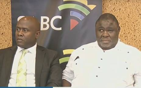 A screengrab of SABC acting CEO James Aguma and SABC board chairperson Mbulaheni Maguvhe at a press briefing.