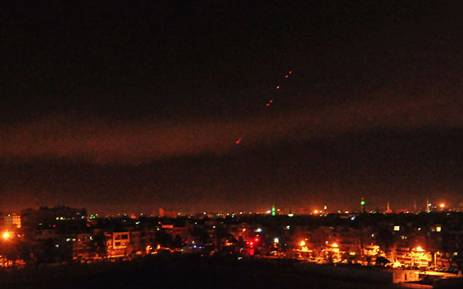 A photo released on 14 April 2018 shows anti-aircraft fire on the outskirts of Damascus after Western strikes reportedly hit Syrian military bases and chemical research centres in and around the capital. Picture: AFP.