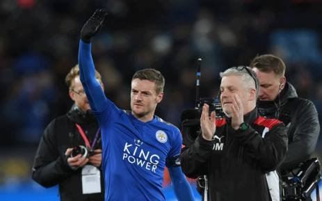 FILE: Leicester City's English striker Jamie Vardy waves at the final whistle during the English FA Cup third round replay football match between Leicester City and Fleetwood Town at King Power Stadium in Leicester, central England on 16 January 2018. Picture: AFP.