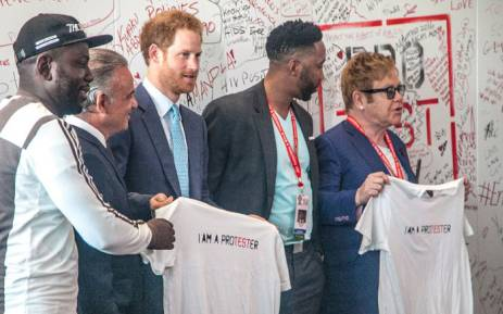 Prince Harry, Sir Elton John and Ndaba Mandela a the Durban ICC. Picture: Kgothatso Mogale/EWN