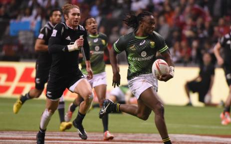 New Zealand vs South Africa during HSBC World Rugby Sevens Series action in Vancouver, BC, 13 March, 2016. New Zealand won 19-14. Picture: AFP.