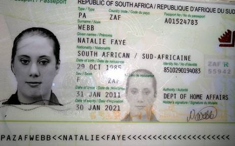 An image of a fake South African passport belonging to British national Samantha Lewthwaite aka the White Widow was released by Kenyan police in 2011. Picture: AFP