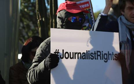 Journalists and people from the media industry gathered outside the SABC in Auckland Park, dressed in black, in support of the national broadcaster's journalists who were suspended for raising concerns about policy changes. Picture: Christa Eybers/EWN.