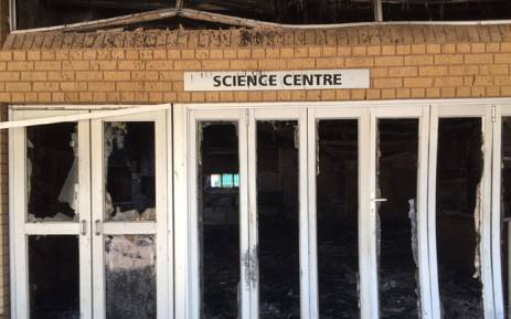 The Science Centre at the North West University's Mahikeng campus after it was torched during student protests, 25 February 2016. Picture: Vumani Mkhize/EWN.