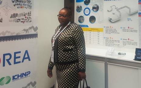 Energy Minister Mmamoloko Kubayi visits the Korean exhibition stand while attending the AtomExpo nuclear conference in Moscow, Russia. Picture: @Energy_ZA/Twitter
