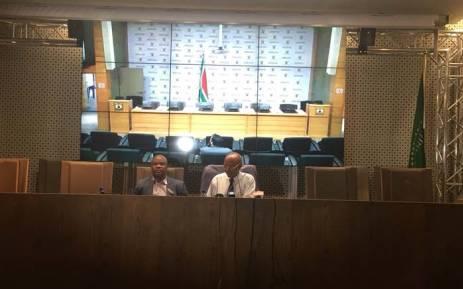 Home Affairs DG Mkuseli Apleni addressing the media on the naturalisation of the Gupta family. Picture: @SAgovnews/Twitter.