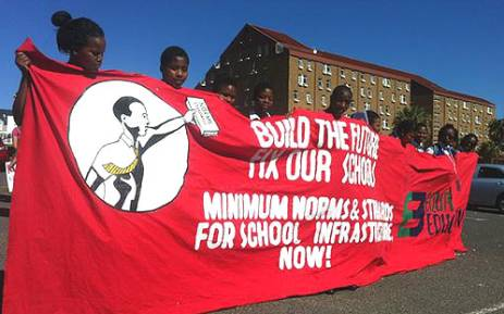Dozens of pupils and teachers marched to Parliament on14 September 2012, in rejection of the possible closures of 27 schools in the Western Cape. Picture: Carmel Loggenberg/EWN.
