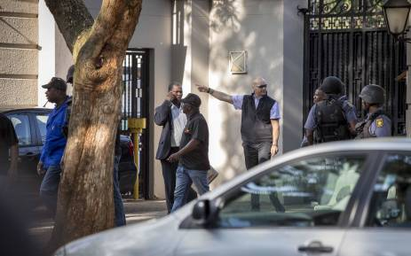Members of Hawks and Saps raid the Gupta compound in Saxonwold reportedly making three arrests in connection with the Estina Dairy Farm Project. Picture: Thomas Holder/EWN