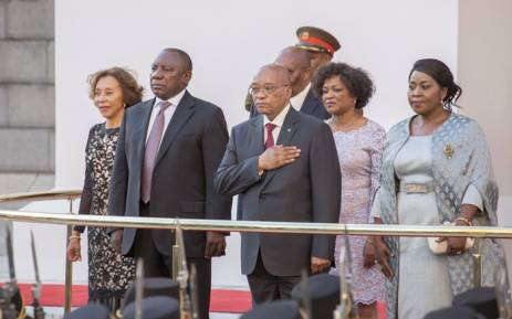 FILE: President Jacob Zuma sings the national anthem ahead of his State of the Nation Address (Sona) on 11 February 2015. Picture: Aletta Harrison/EWN.