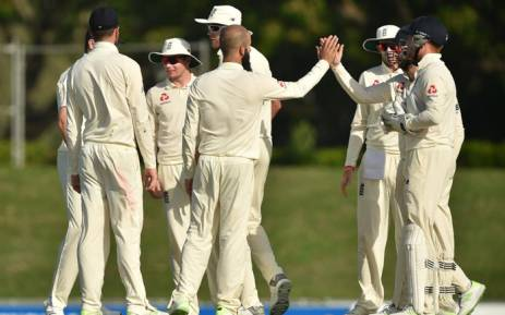 England players celebrate a wicket against Cricket Australia XI. Picture: @englandcricket/Twitter.