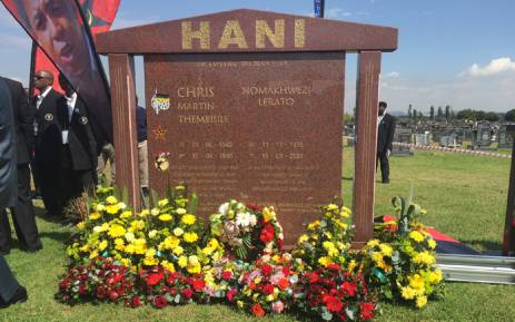 FILE: Wreaths laid at Chris Hani's grave site in South Park Cemetery south of Johannesburg. Picture: Reinart Toerien/EWN.