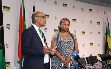 ANC spokesperson Pule Mabe (L) briefing the media on Wednesday 14 February 2018 on the fate of President Jacob Zuma. Picture: Twitter/@MyANC