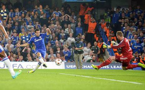 Chelsea's Cesc Fabregas takes a shot during a Uefa Champions League game against Schalke 04 on 17 September 2014. Picture: Official Chelsea Facebook page.
