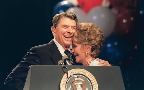 This file photo taken on 15 August, 1988 shows US First Lady Nancy Reagan and her husband, US President Ronald Reagan, at a luncheon in New Orleans honouring her for her work to combat drug abuse. Nancy Reagan died March 6, 2016, at age 94. Picture: AFP.