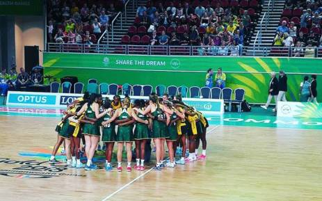 South African netball team at the Commonwealth Games. Picture: @Netball_SA/Twitter.